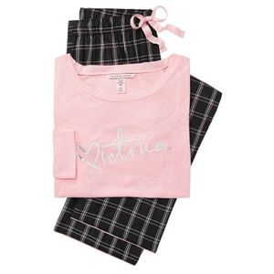 Victoria's Secret  Color Candy Black Plaid Pajamas
